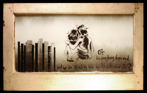 Charles Burns' Seattle by Jaimee Garbacik, spray paint on glass window with wood frame